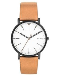 Skagen - Men's Brown Quartz Leather Strap Watch - Lyst