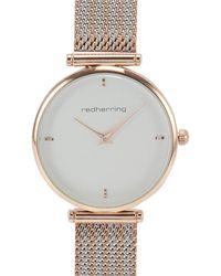 Red Herring Mesh Strap Watch - Metallic