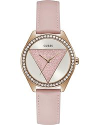 Guess - Ladies Rose Gold Analogue Leather Strap Watch - Lyst