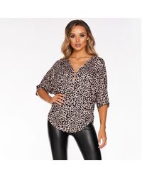 Quiz Pink And Black Knitted Leopard Zip Top