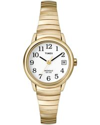 Timex - Ladies Easy Reader White Dial With Gold Expansion Band Watch T2h351 - Lyst