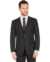 Scott & Taylor - Navy Tonal Check 2 Button Front Regular Fit Suit Jacket - Lyst