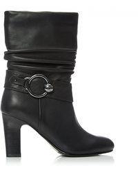 Moda In Pelle - Leather 'pralie' High Block Heel Calf Boots - Lyst