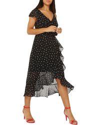Dorothy Perkins - Monochrome Spot Chiffon Midi Skater Dress - Lyst