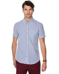 Racing Green - Big And Tall Blue Striped Button Down Collar Short Sleeve Tailored Fit Shirt - Lyst