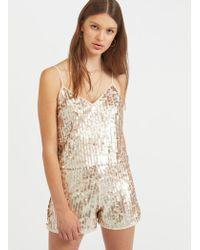 Miss Selfridge - Gold Sequin Camisole Top - Lyst