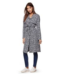 Yumi' Blue Floral Trench Coat
