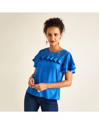 Yumi' Frill Sleeve Lace Top - Blue