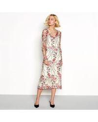 Vila - Cream Floral Embroidered 'virena' V-neck Long Sleeve Midi Dress - Lyst