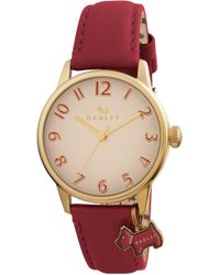 Radley - Ladies Watch With Gold Plated Case And Red Genuine Leather Strap Ry2250 - Lyst