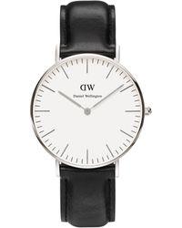 Daniel Wellington - Unisex Silver 'sheffield' Black Leather Strap Watch 0608dw - Lyst