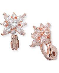 Anne Klein - Rose Gold Tone Cubic Zirconia Cluster Button Earrings - Lyst