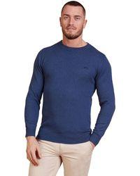Raging Bull Smart Denim Crew Neck Cotton Cashmere Jumper - Blue