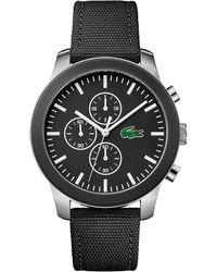 Lacoste - Men's Black 'l.12.12' Chronograph Strap Watch - Lyst