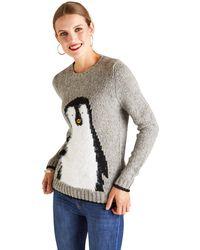 Yumi' Textured Penguin Jumper - Grey