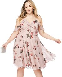 Lipsy - Pink Floral Print 'leasha' V-neck Midi Plus Size Dress - Lyst