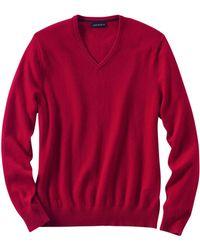 Lands' End - Red V-neck Cashmere Jumper - Lyst