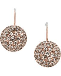 Fossil - Round Gold Crystal Earrings From - Lyst