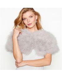 Jenny Packham - Grey Feather Shrug - Lyst