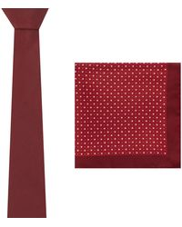 Red Herring Dark Red Tie And Floral Pocket Square