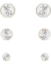 Pilgrim - Pack Of Three Silver Diamante Stud Earrings - Lyst