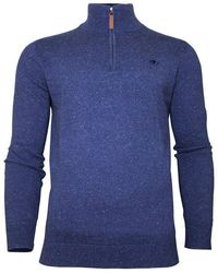 Raging Bull - Midnight Blue Knitted Cotton 1/4 Zip Jumper - Lyst