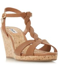 Dune - Tan Leather 'koala' High Wedge Heel T-bar Sandals - Lyst