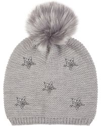 9cc066125e9 Yumi  - Grey Star Beanie Hat With Pompom - Lyst