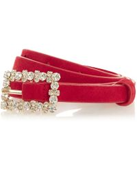 Dune - Red 'norriss' Diamante Buckle Belt - Lyst