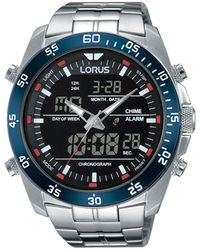 Lorus Gents Duo Display Chronograph Bracelet Watch Rw623ax9 - Metallic