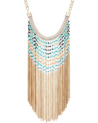 Red Herring - Beaded Chain Statement Tassel Necklace - Lyst
