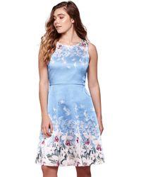 Yumi' Floral Shift Dress - Blue
