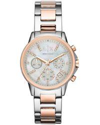 Armani Exchange Ladies Silver And Chronograph Watch Ax4331 - Metallic