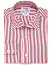 Tm Lewin - Regular Fit Red Bengal Stripe Poplin Long Sleeve Length Shirt - Lyst