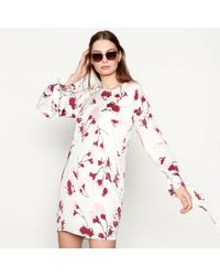 Minimum - White 'ebba' Floral Print Round Neck Long Sleeve Mini Shift Dress - Lyst