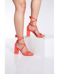 91905f761c4 River Island Coral Wedge Sandals in Orange - Lyst