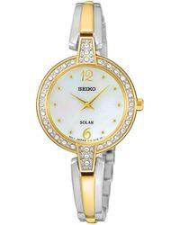 Seiko - Womens Solar Crystal Two Tone Bracelet Watch Sup288p9 - Lyst