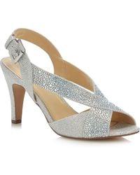 Lotus - Silver Diamante 'anya' High Stiletto Heel Peep Toe Shoes - Lyst
