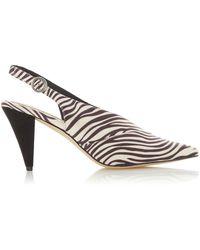 Dune - Zebra 'camilla' Mid Stiletto Heel Slingback Shoes - Lyst