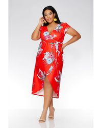 Quiz - Curve Red Oriental Wrap Cap Sleeve Dress - Lyst