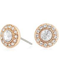 Pilgrim Rose Crystal Diamante Earrings - Metallic