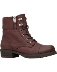 Call It Spring - Ladies Flat Lace Up Boot With Fold Over Collar - Lyst