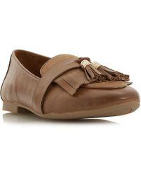 Dune - Tan Leather 'gilbertt' Block Heel Loafers - Lyst