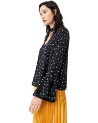 Mango - Black 'lena' Ruffled Sleeves Top - Lyst