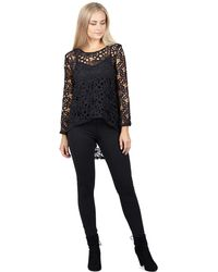 Izabel London - Black Floral Printed Laced Top - Lyst