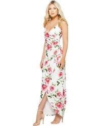 Quiz - Cream And Pink Floral Wrap Maxi Dress - Lyst
