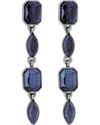 Matthew Williamson - Blue Metallic Crystal Linear Drop Earring - Lyst