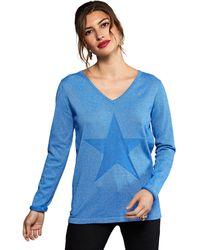 Yumi' Blue Knitted Star Jumper