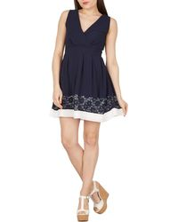 Apricot - Navy Crossover Structured Dress - Lyst