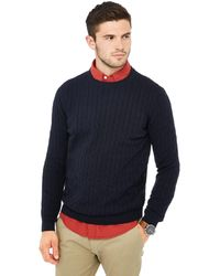 Racing Green Cable Knit Jumper - Blue